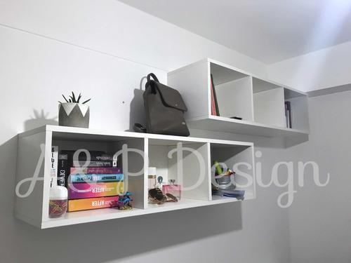 Mueble estante librero flotante dormitorio estudio melamine