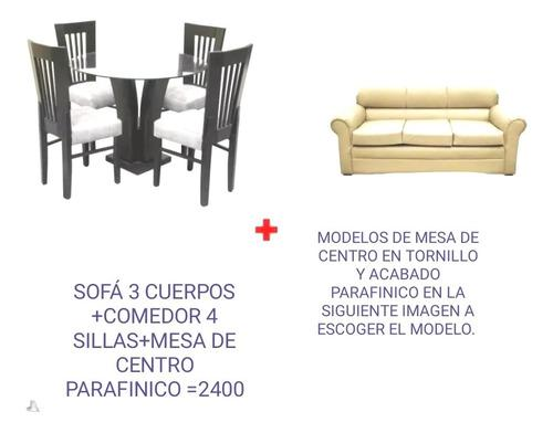 Sala + juego de comedor 4 sillas + mesa de centro parafinico