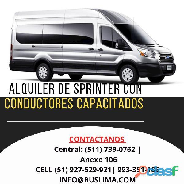 Alquiler de unidades sprinter para transporte de personal . lima