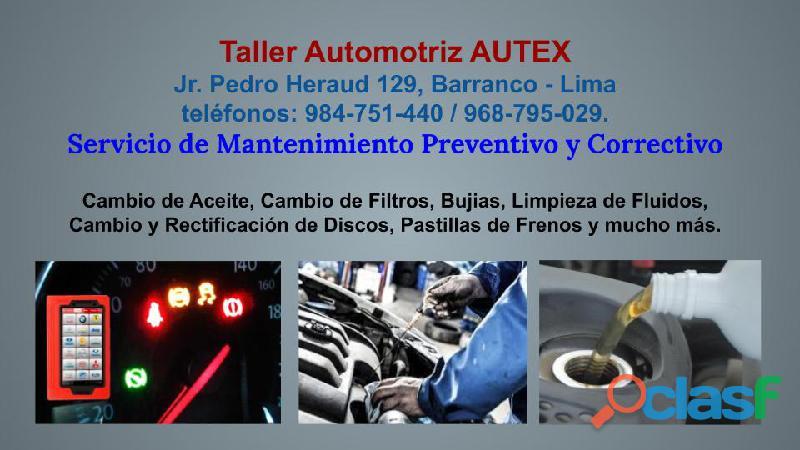 Mantenimiento para vehículos taller automotriz autex