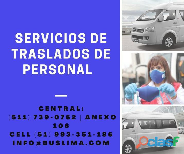 Servicios de traslado de personal. cumplimos con el protocolo de salubridad.