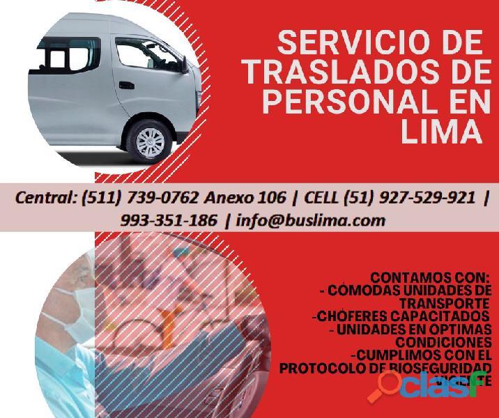 Transporte de personal para Empresas   en Lima, contamos con conductores.