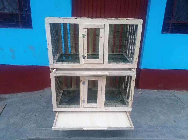 Jaula de 2 pisos para animales