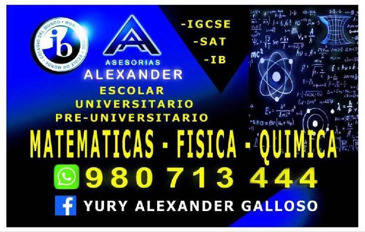 Profesor a domicilio: matematicas, fisica y quimica - ib /