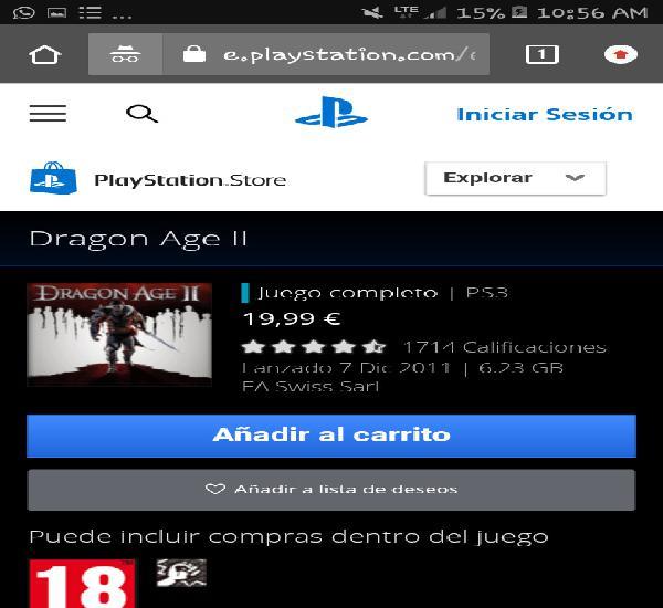 Juegos digitales ps3 Dragon Age