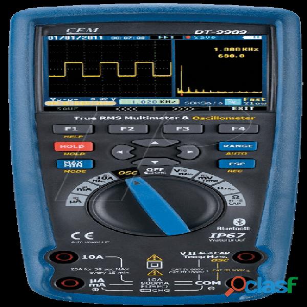 CEM DT 9989 Multímetro True RMS, Osciloscopio, bluetooth, IP67, CAT III