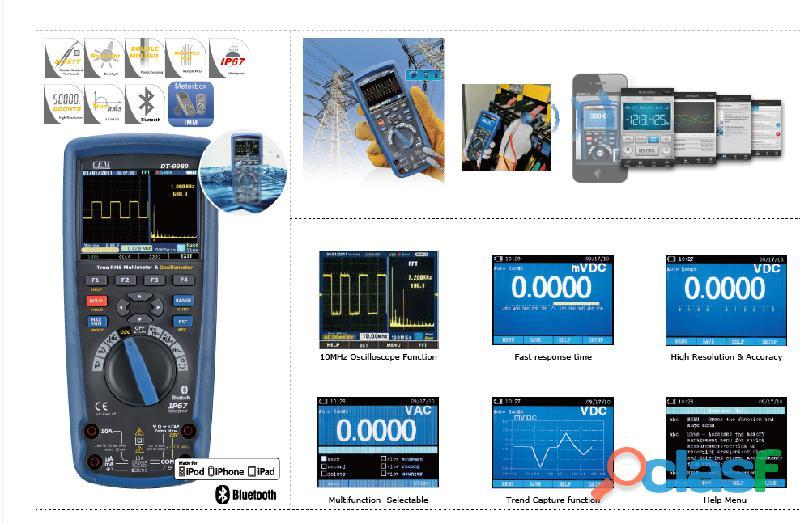 CEM DT 9989 Multímetro True RMS, Osciloscopio, bluetooth, IP67, CAT III 9