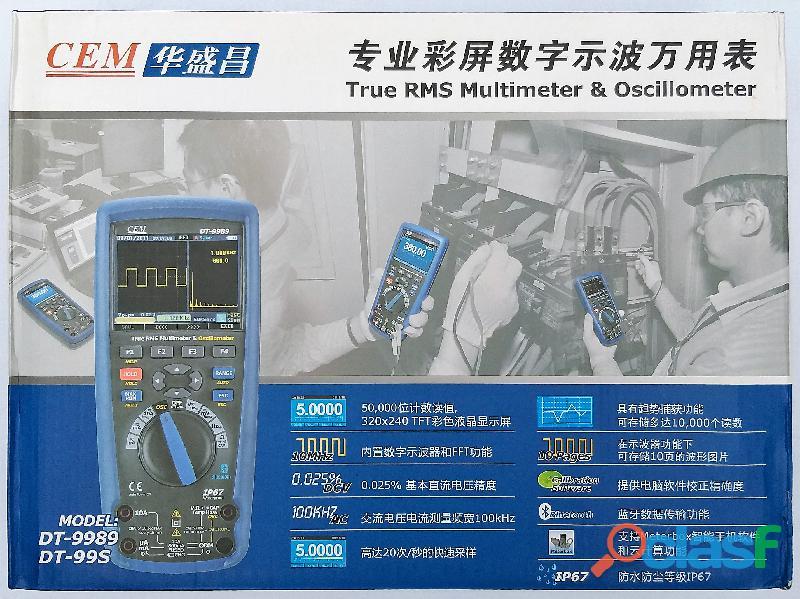 CEM DT 9989 Multímetro True RMS, Osciloscopio, bluetooth, IP67, CAT III 12