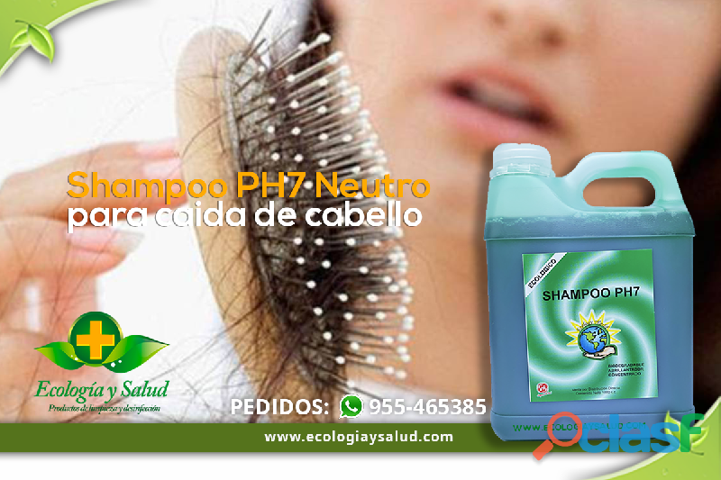 Shampoo ph7 ecologico sin sal, para caida de cabello