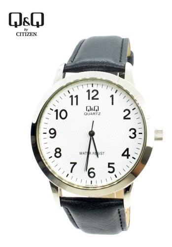 Reloj q&q casual correa de cuero negro para hombre - oferta