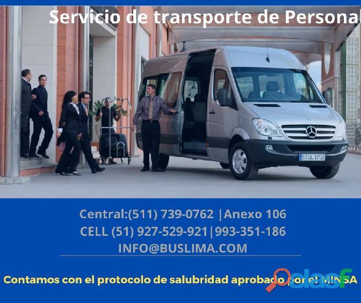 Alquiler de unidades de transporte de personal para empresas   lima