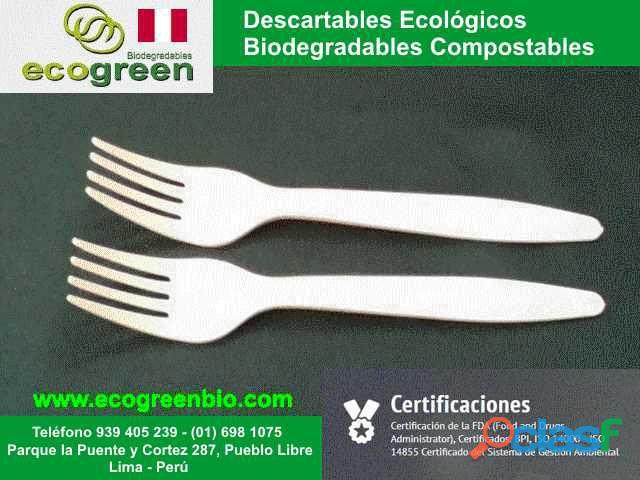 Cubiertos platos biodegradables ecológicos para alimentos Lima Perú con certificación FDA