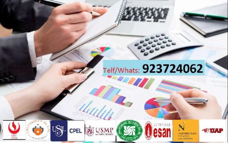 Asesorias ejercicios finanzas, contabilidad