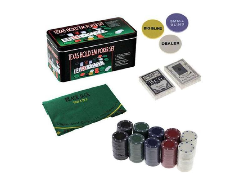 Set de poker 200 fichas cartas paño
