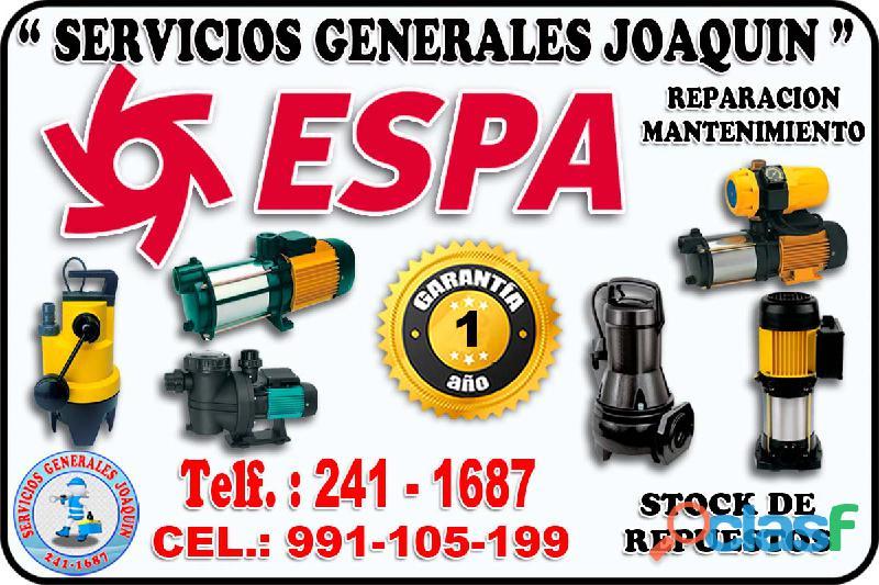Soluciones tecnico de electrobombas ESPA 241 1687 en todo lima