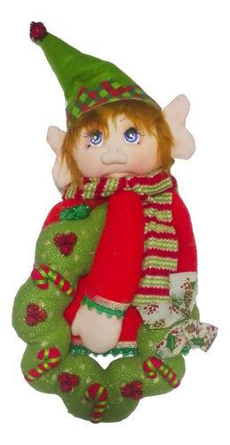 Porta mantel duende corona 58cm adorno regalo navidad decora