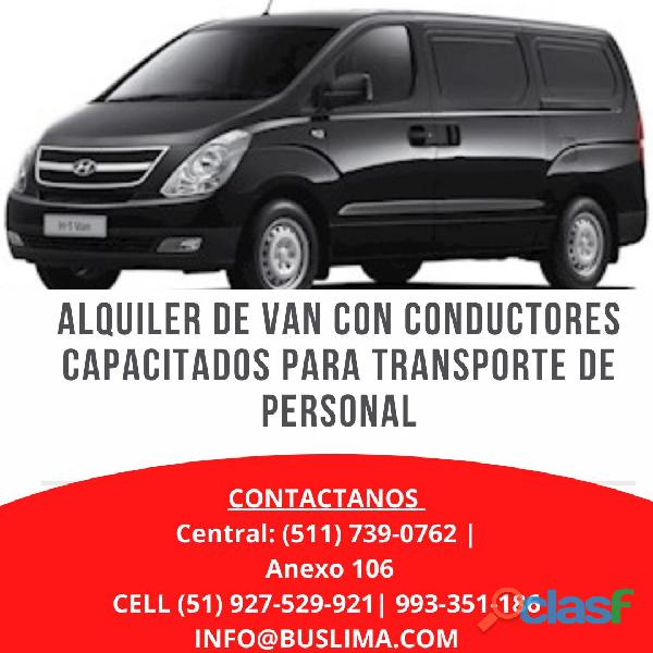 Alquiler de Van para empresas en Lima Metropolitana y en todo el PAÍS