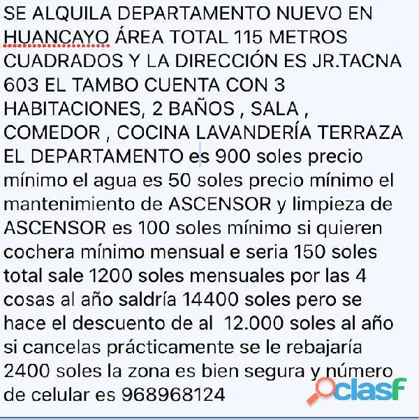Se alquila departamento nuevo en huancayo (968968124)
