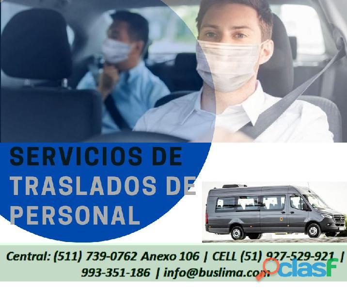 Servicio de transporte de personal con conductores capacitados y todas las medidas de prevención