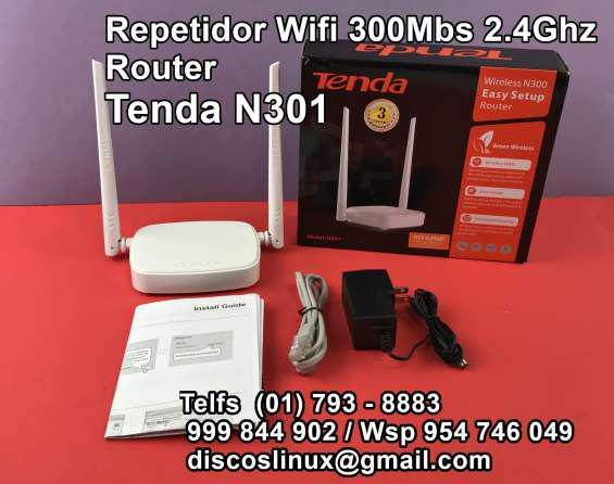 Tenda n301 wifi repetidor router doble antena para más