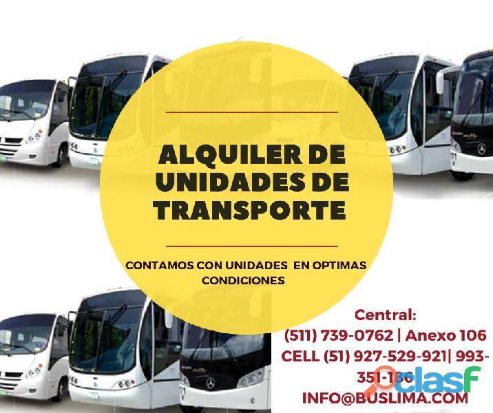 Alquiler de unidades buses y minibuses   para transporte de empresas. lima