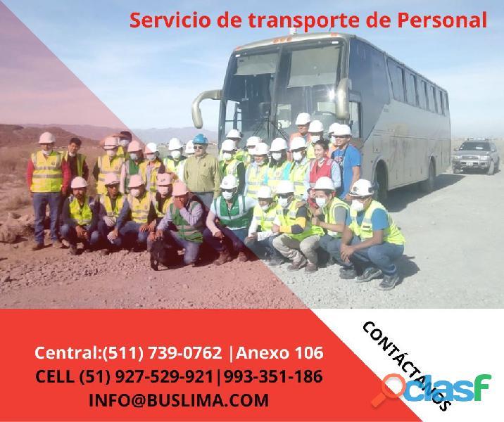 Servicios de traslado de personal con buses y unidades modernas   en lima