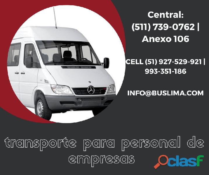 Servicios de traslado de personal en Unidades Coaster y Sprinter en Lima