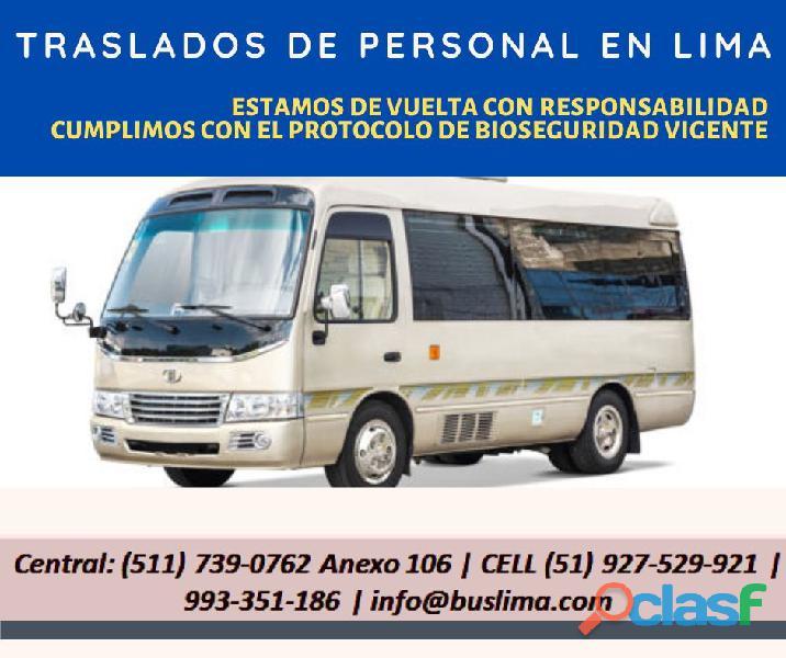 Transporte de personal con coaster equipadas y conductores capacitados .  lima