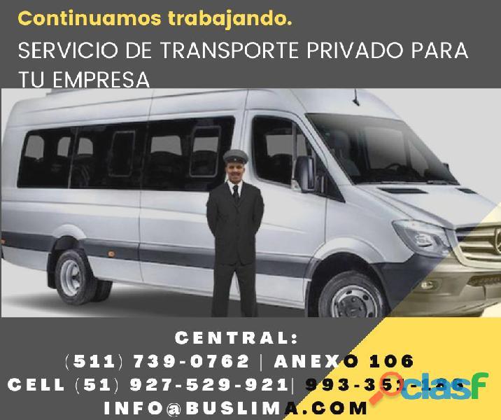 Alquiler de unidades para transporte privado de empresas, lima
