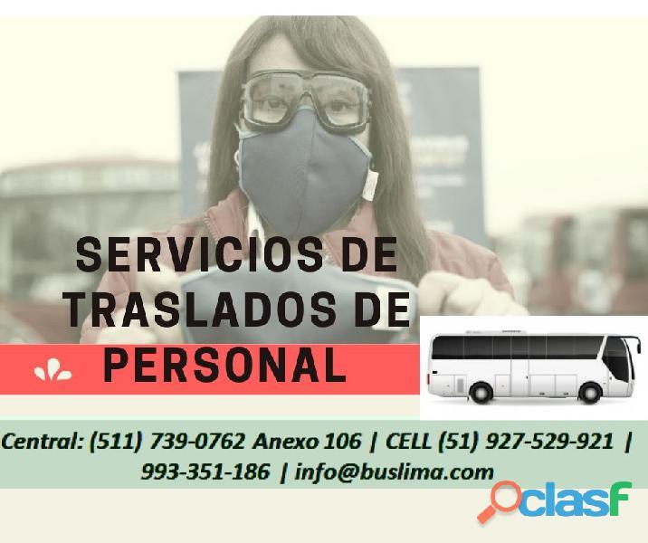 Servicios de traslado de personal para empresas en lima y todo perú
