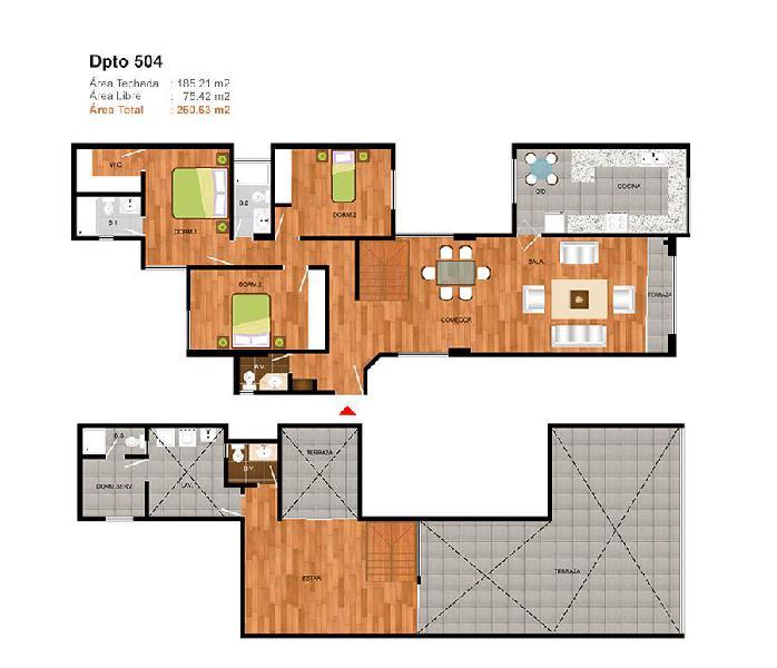 Duplex amplio y comodo cerca a parques con amplias terrazas