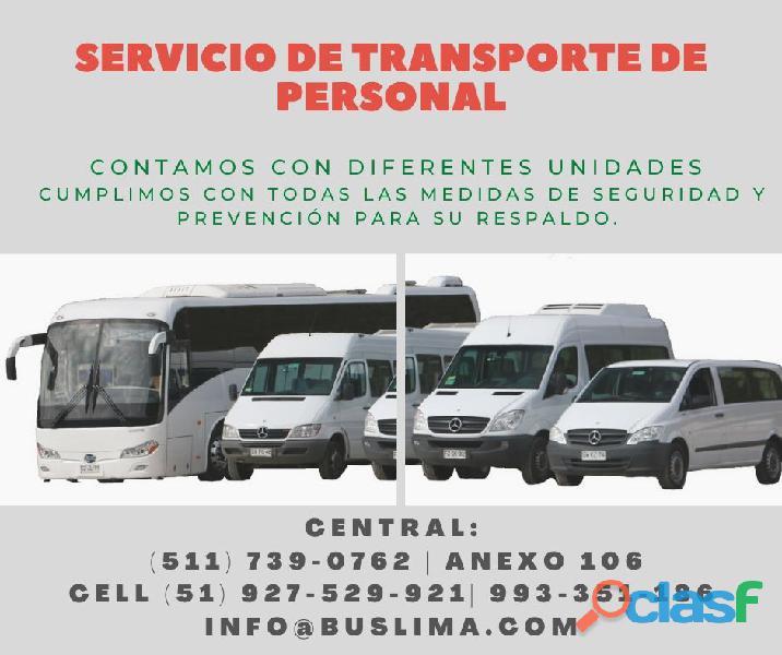 Alquiler de Unidades de transporte para personal de EMpresas, minas y obras