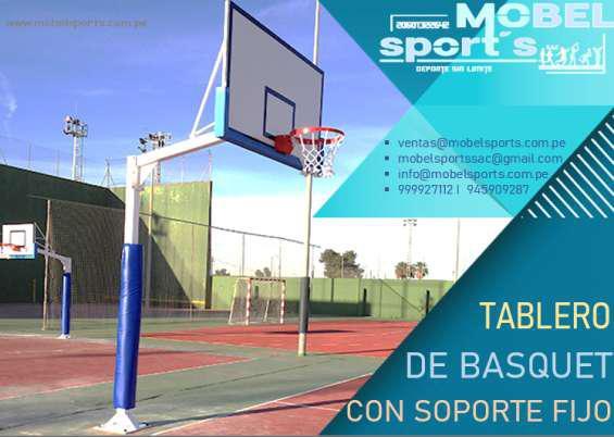 Canasta de baloncesto de madera con soporte fijo en Lima