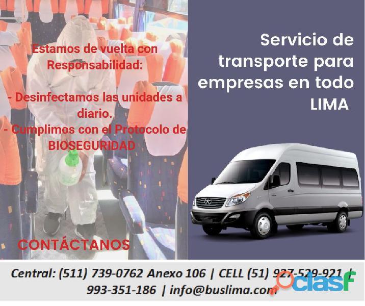 Servicio de transporte de Personal para EMpresas en la ciudad de lima   Lima