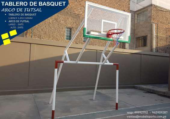 Arco de futsal con tablero de basquet