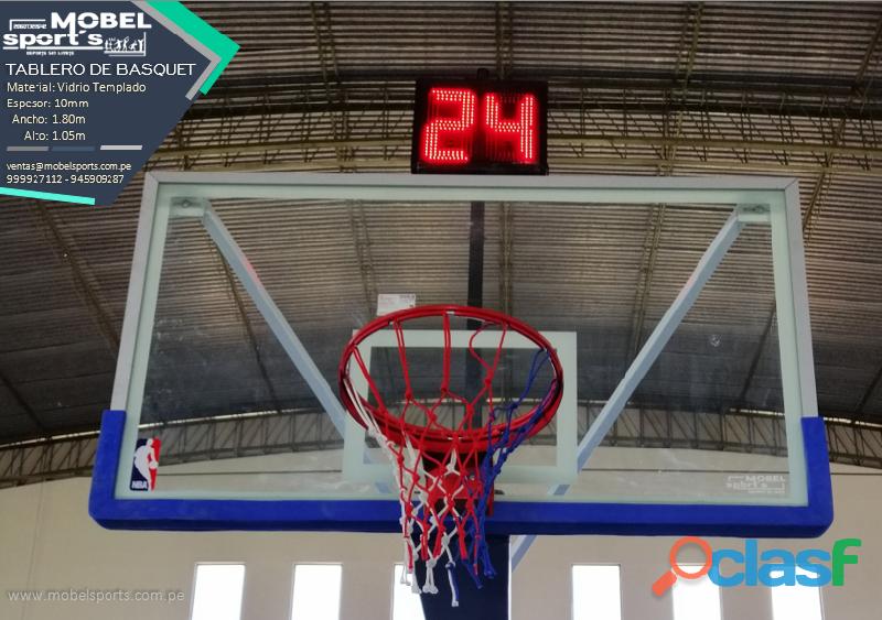 Canasta de baloncesto de vidrio templado   mobel sports