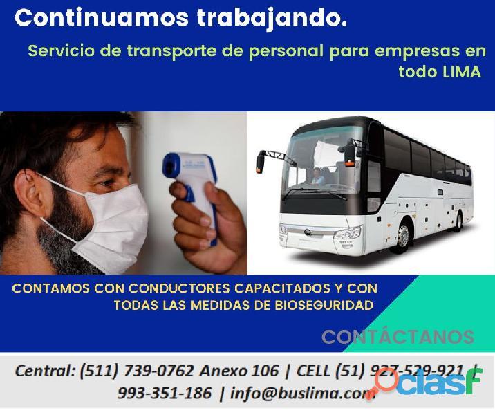 Alquiler de Unidades de transporte para personal de empresas en Lima