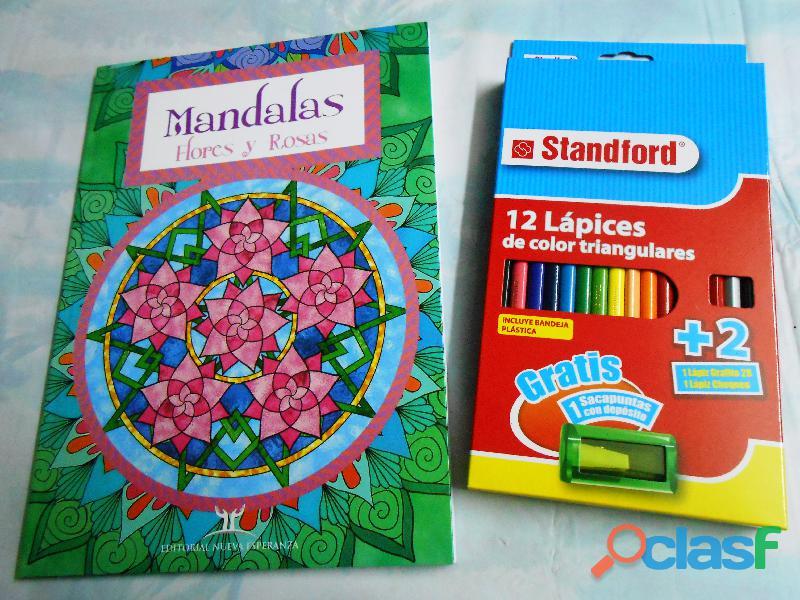 Libros de mandalas de flores y rosas para colorear incluye 12 colores standford con tajador