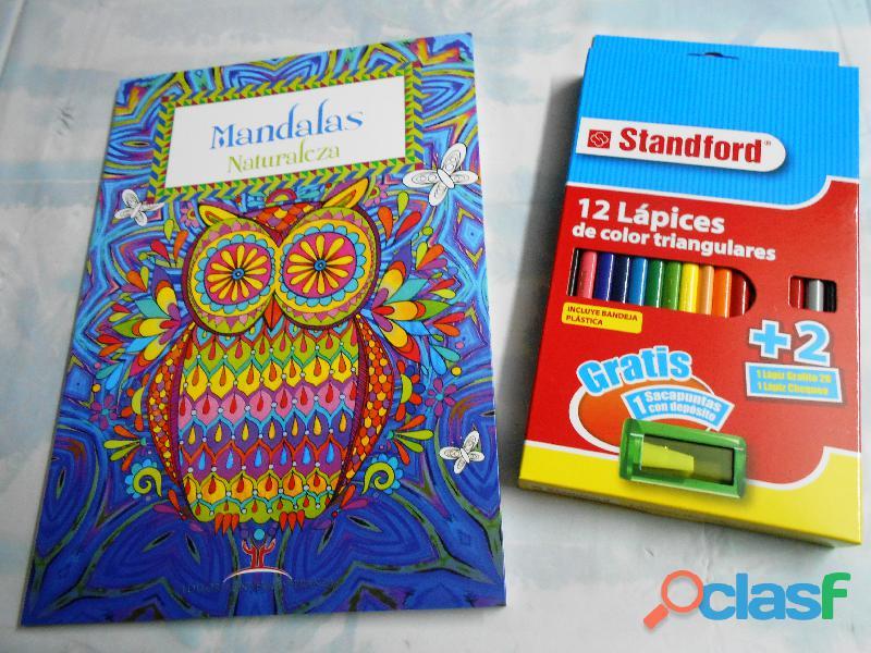 Libros de mandalas de naturaleza para colorear incluye 12 colores standford con tajador