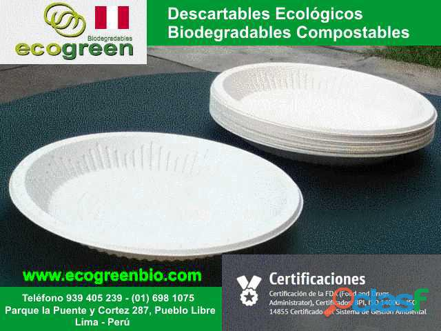 Descartables ECOLÓGICOS biodegradables para alimentos con certificación FDA Lima Perú