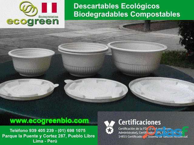 Descartables ECOLÓGICOS biodegradables para alimentos con certificación FDA Lima Perú 2