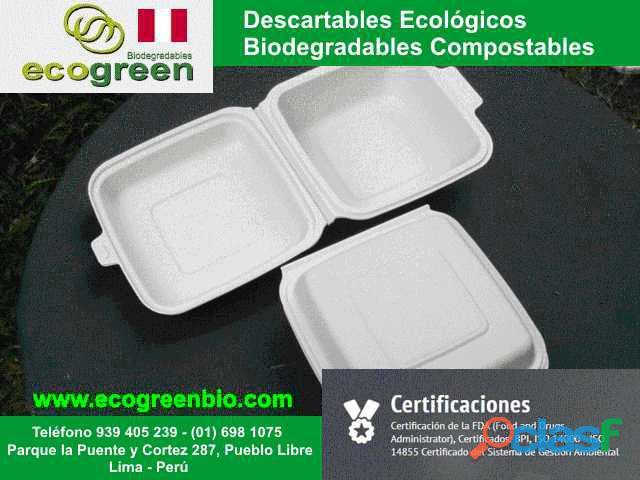 Descartables ECOLÓGICOS biodegradables para alimentos con certificación FDA Lima Perú 4