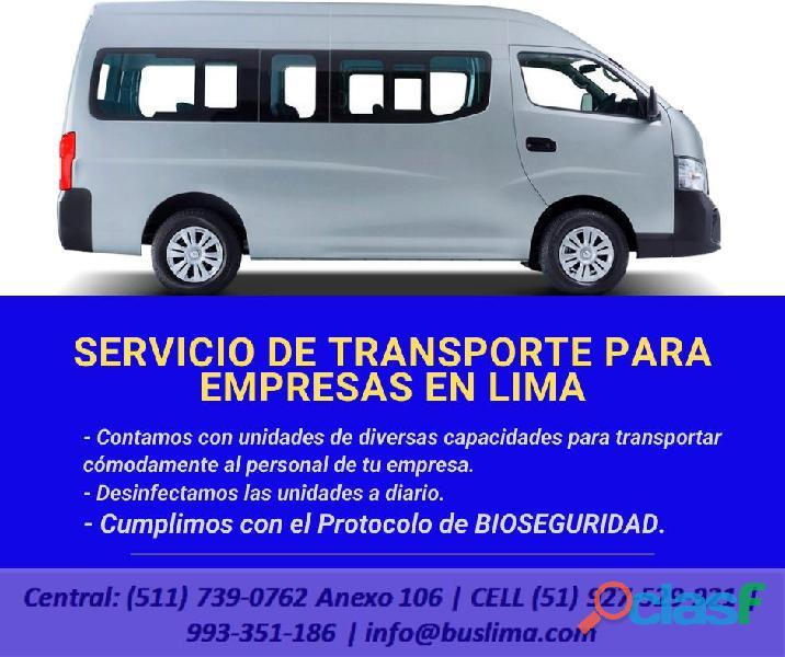 Servicios de transporte de personal para Empresas en Lima, Lima.