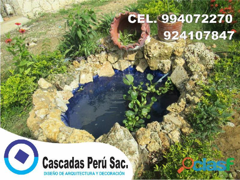 estanques naturales para jardín, cascadas para peces, cascadas artificiales 7