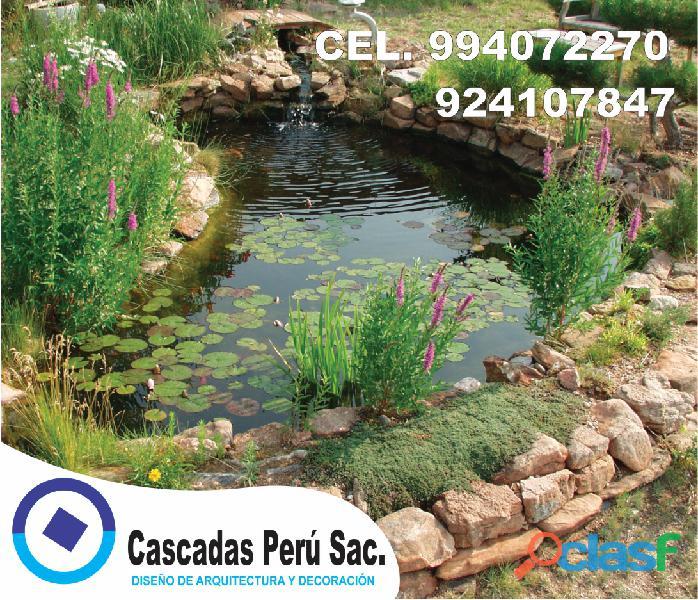 estanques naturales para jardín, cascadas para peces, cascadas artificiales 8