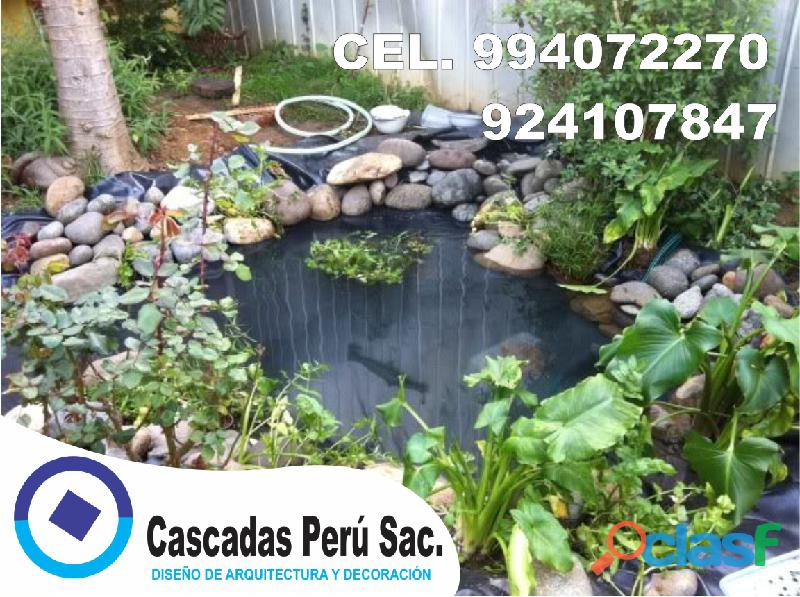 estanques naturales para jardín, cascadas para peces, cascadas artificiales 9