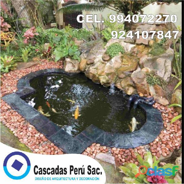 estanques naturales para jardín, cascadas para peces, cascadas artificiales 16