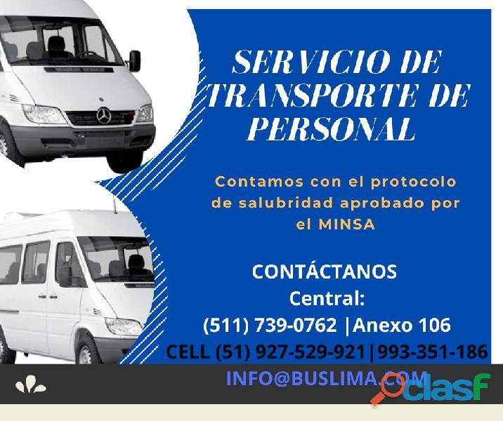 Servicios de transporte de personal con Unidades Nuevas y equipadas. Lima   Lima