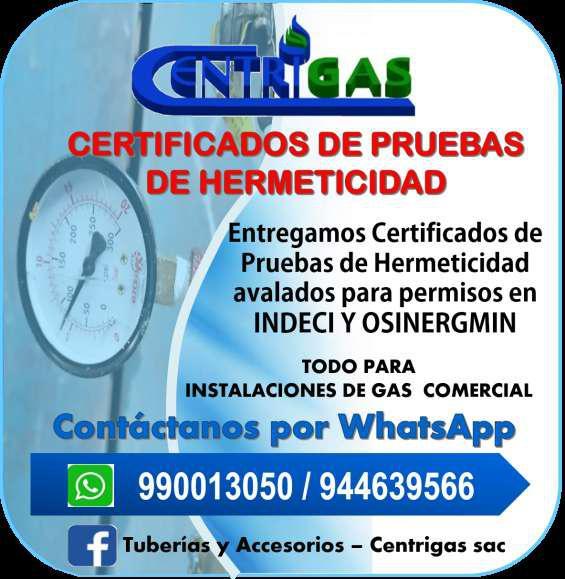 Realización de prueba de hermeticidad para red de gas en