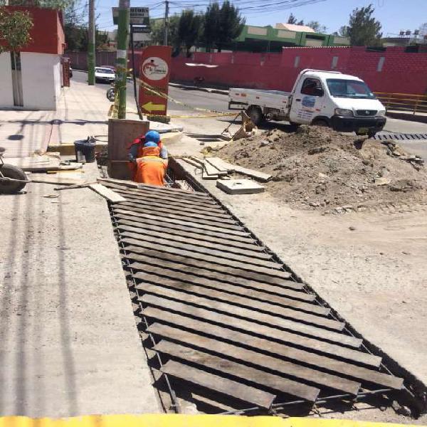 Rieles drenaje pluvial en Arequipa